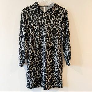 NWT ny collection snow leopard print hooded dress